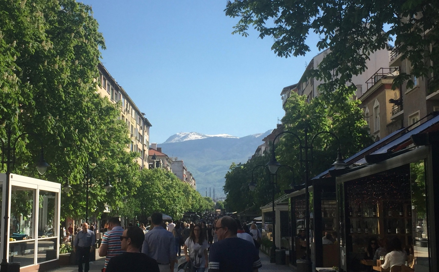 Vitosha Boulevard in springtime towards mountains