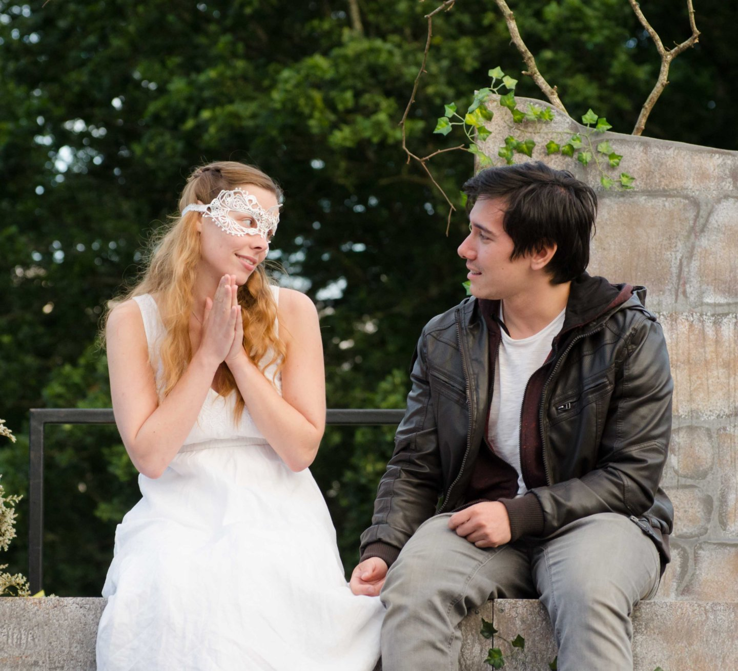 Romeo and Juliet Theatre Cardiff Juliet masked sitting