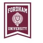 Fordham University vertical pennant maroon and white