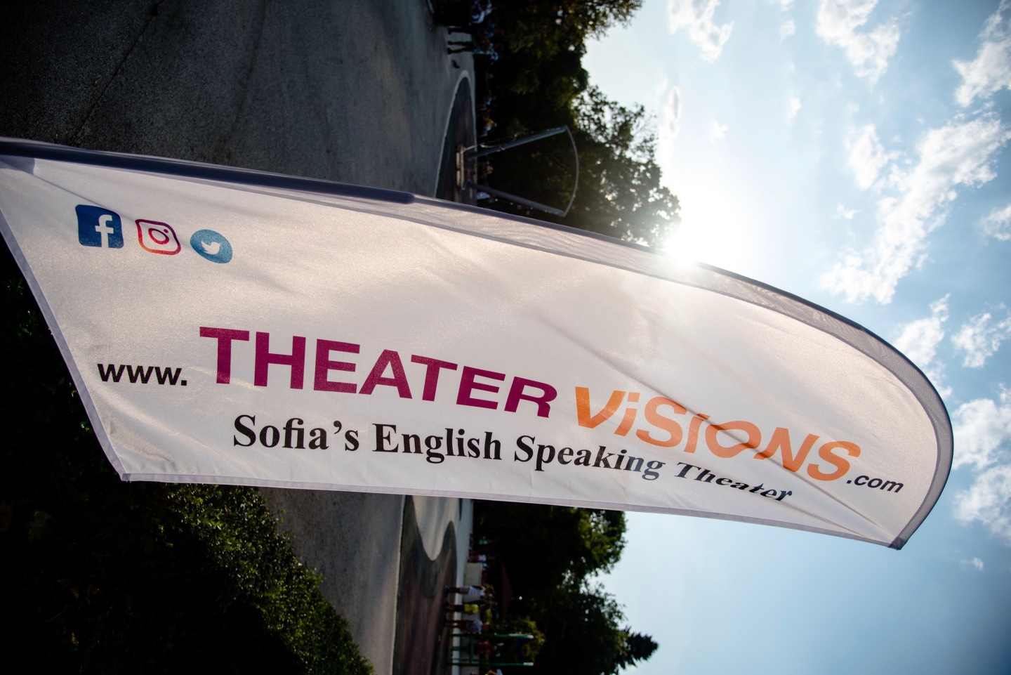 Theater Visions flag rotated to side